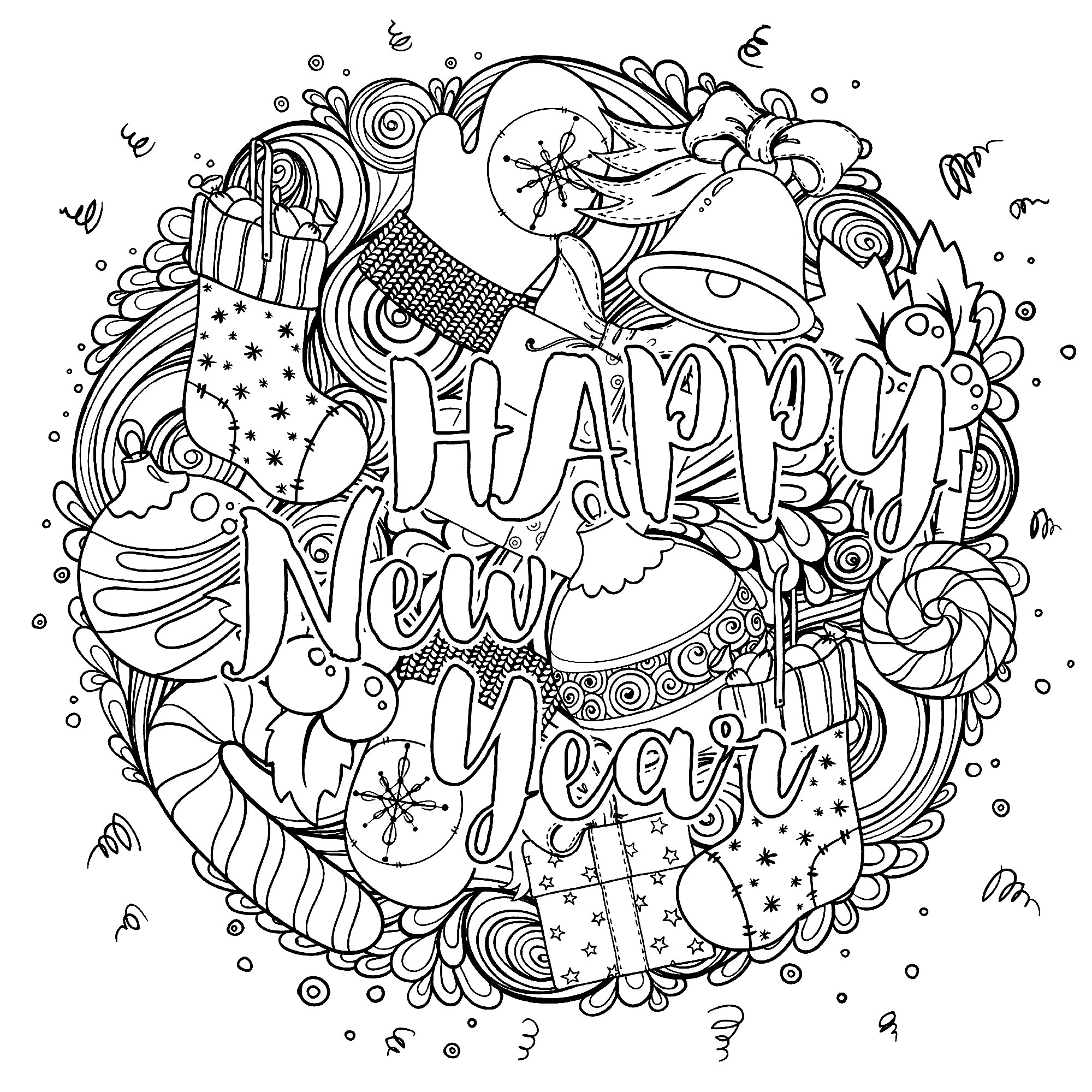 Coloring page happy new year circular design circular drawing with many objects representative of the winter period and the transition to the new