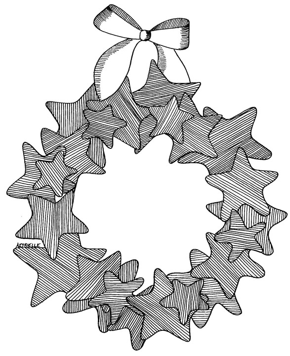 Coloring page adult advent crown by azyrielle