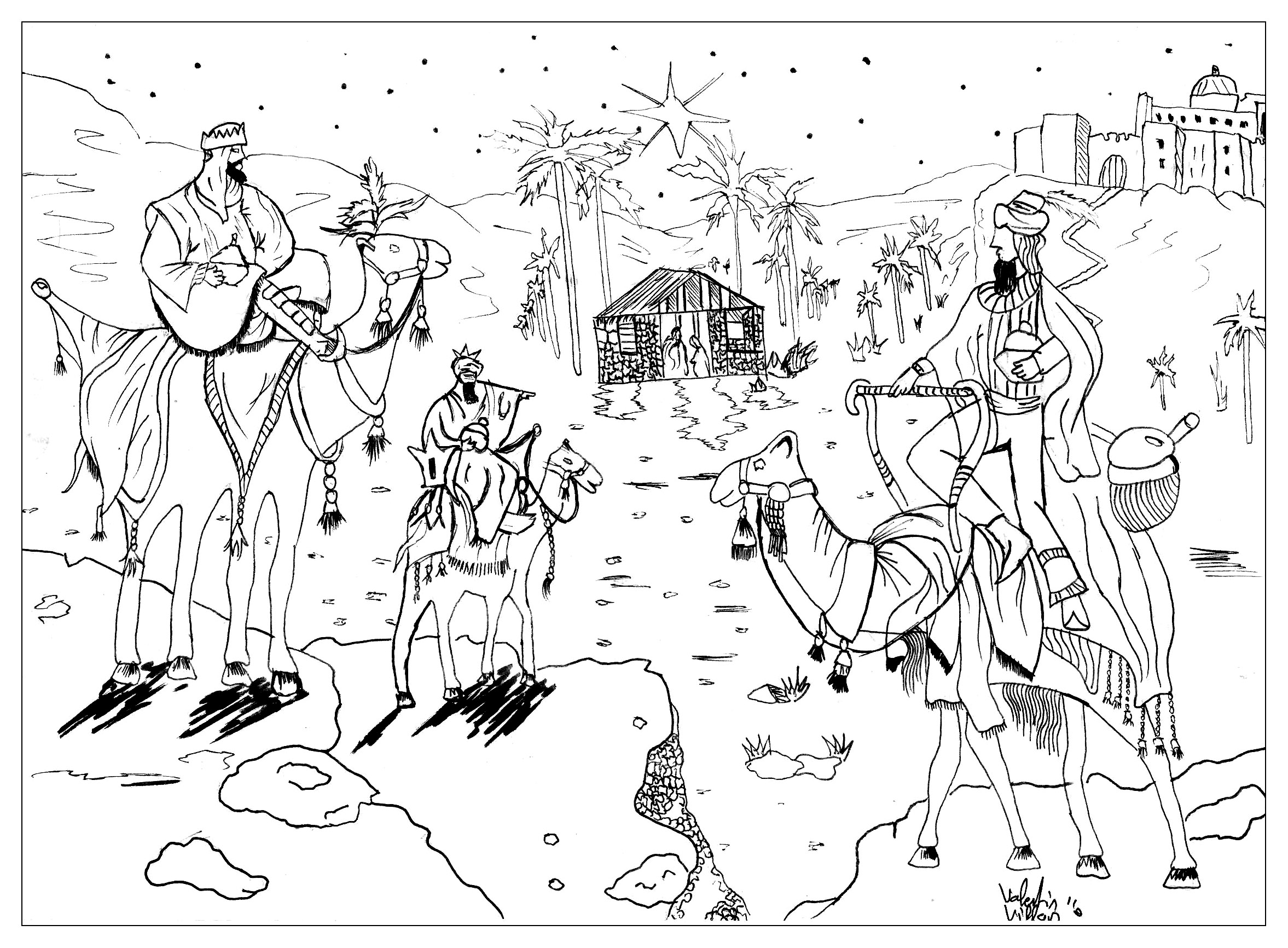 Coloring pages for king wise men melchior gaspard et balthazar