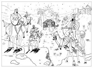coloring page adult draw king wise men by valentin