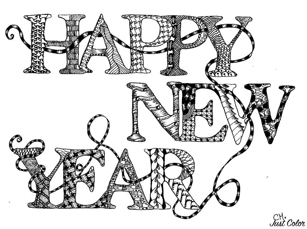 Simple Adult coloring page with the text 'HAPPY NEW YEAR' with patterns inside, to print & color