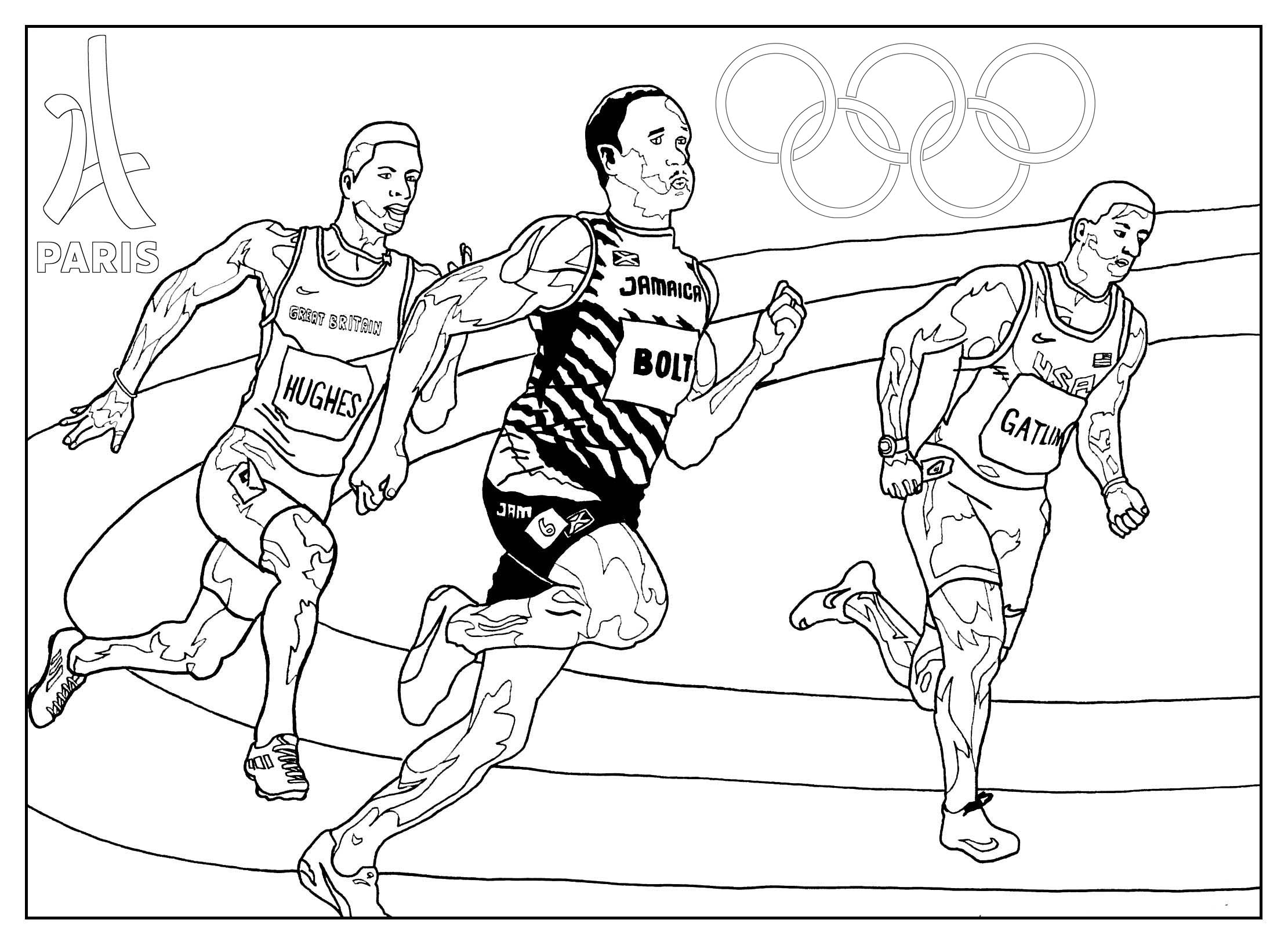 Coloring page for the 2024 Paris Olympic games : Athletics