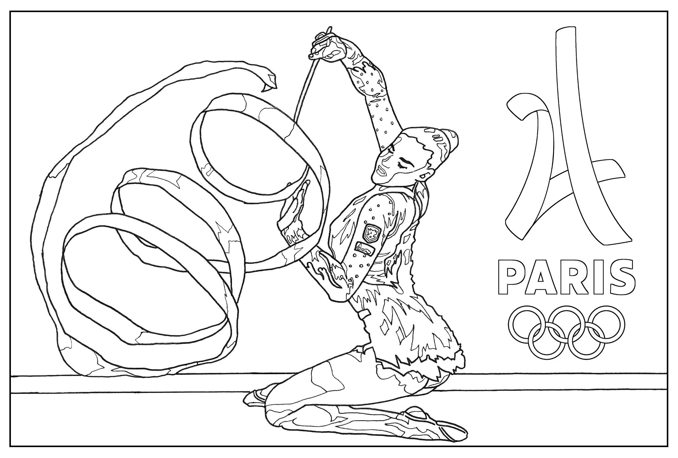 Coloring page for the 2024 Paris Olympic games : Gymnastic