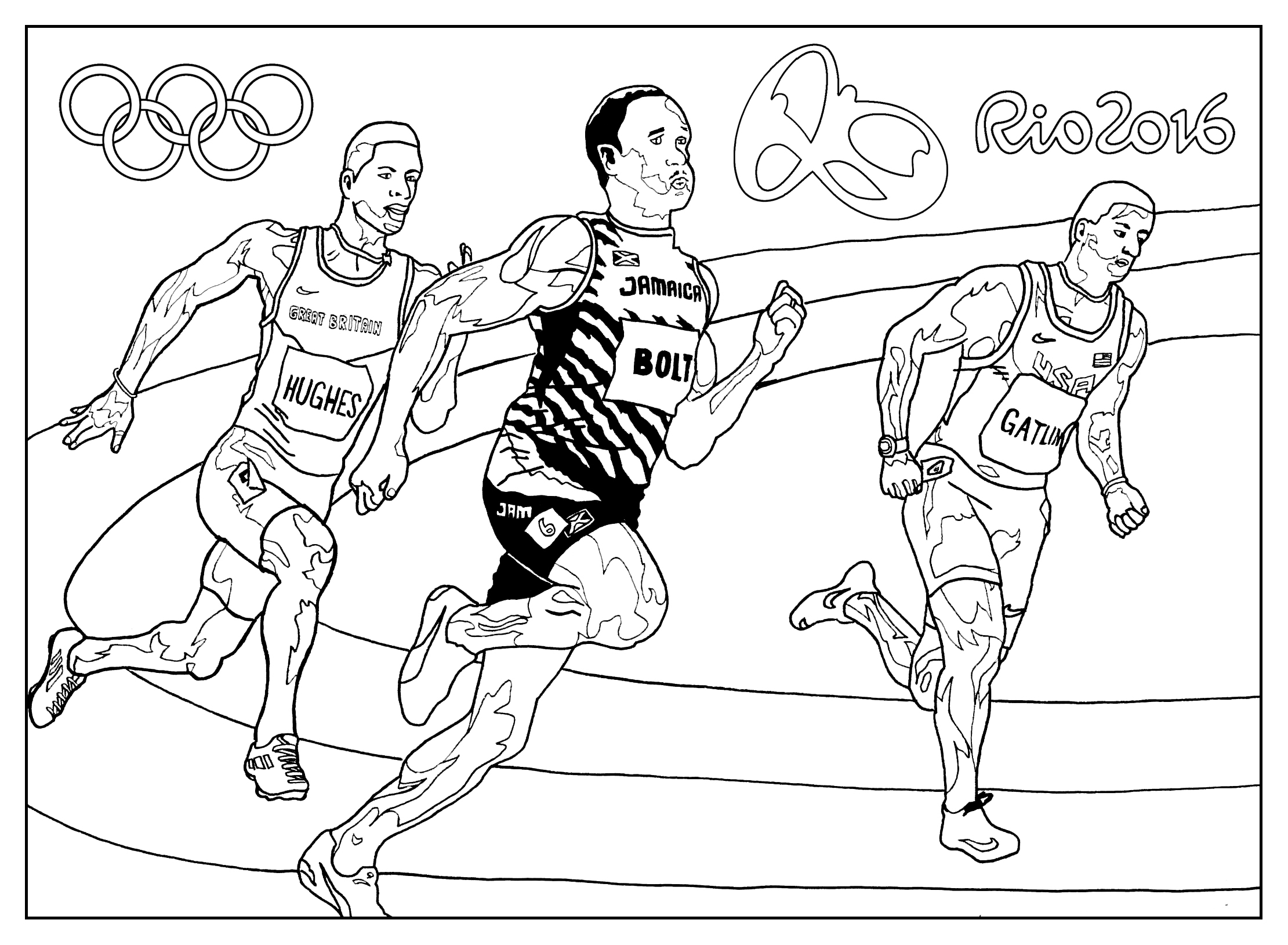 Coloring page for the 2016 Rio Olympic games : Athletics