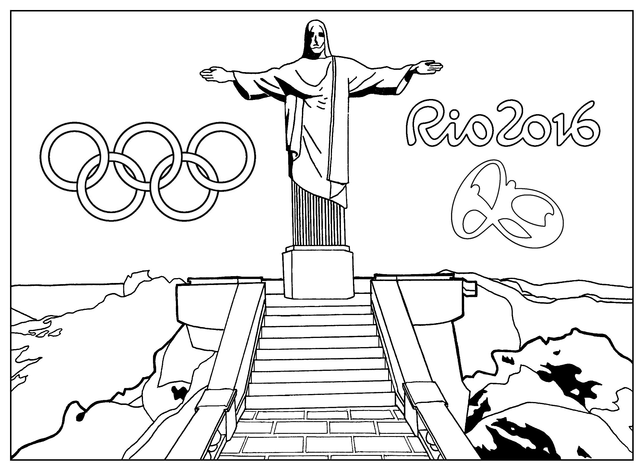 Coloring Page For The 2016 Rio Olympic Games Redeemer Statue