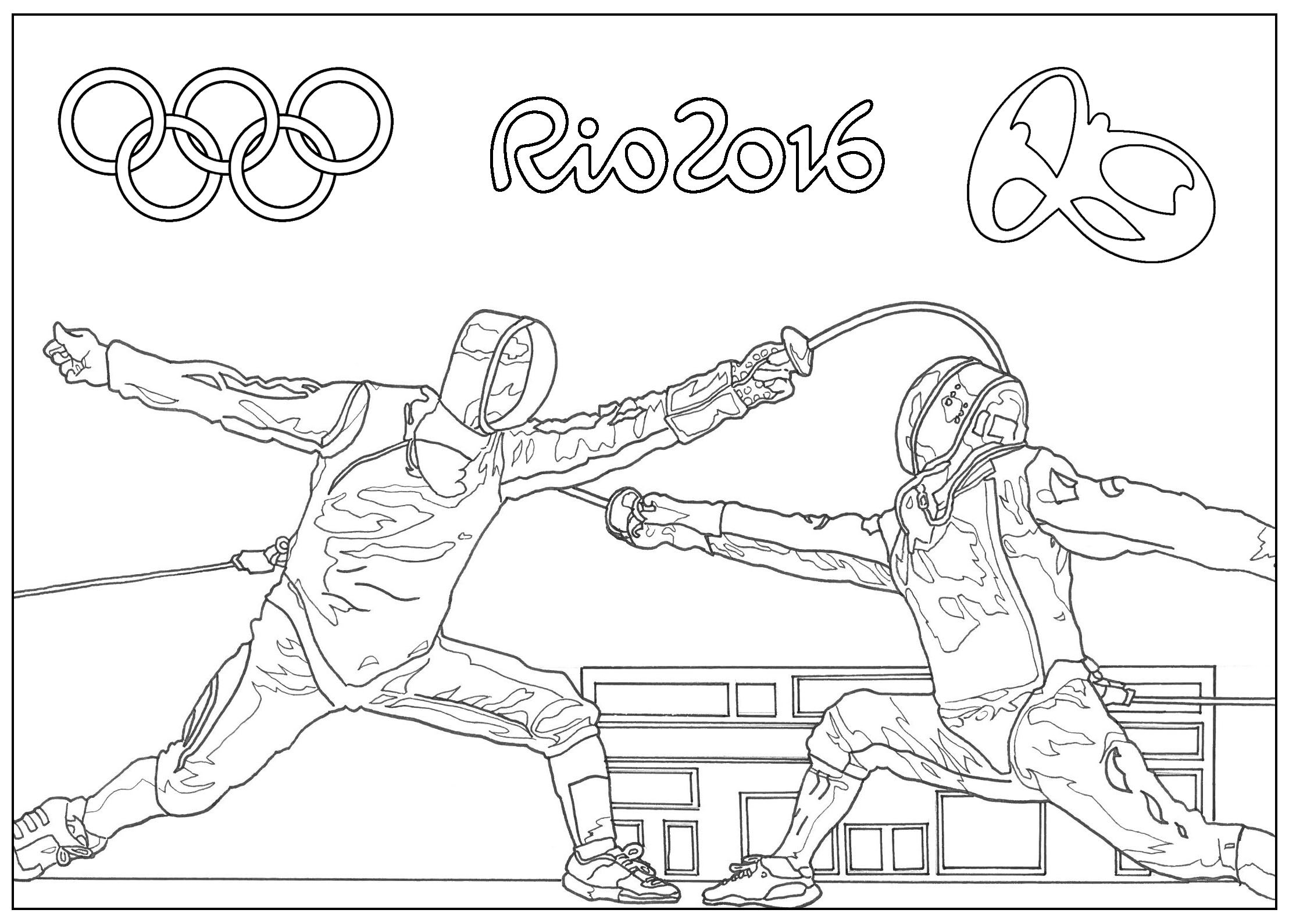 Coloring page for the 2016 Rio Olympic games : Fencing