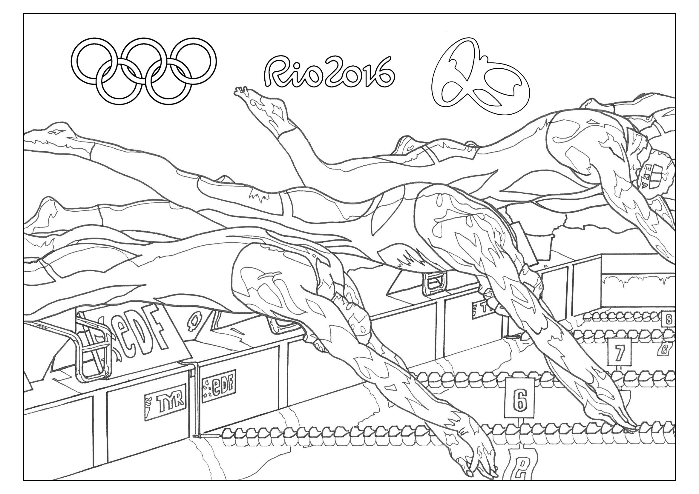 Coloring Page For The 2016 Rio Olympic Games Swimming