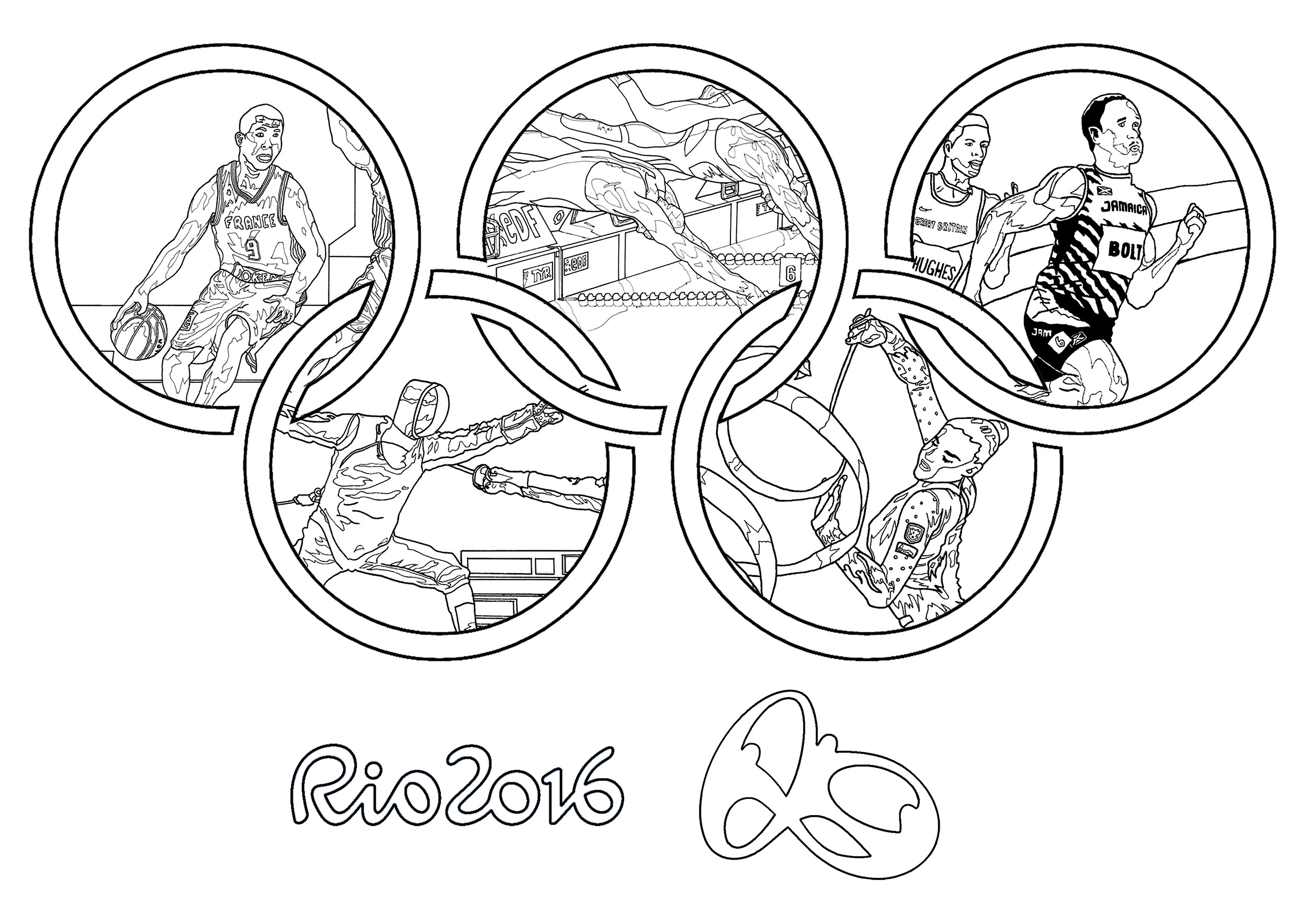 Colouring for kids games - Coloring Page For The 2016 Rio Olympic Games Olympic Rings From The Gallery