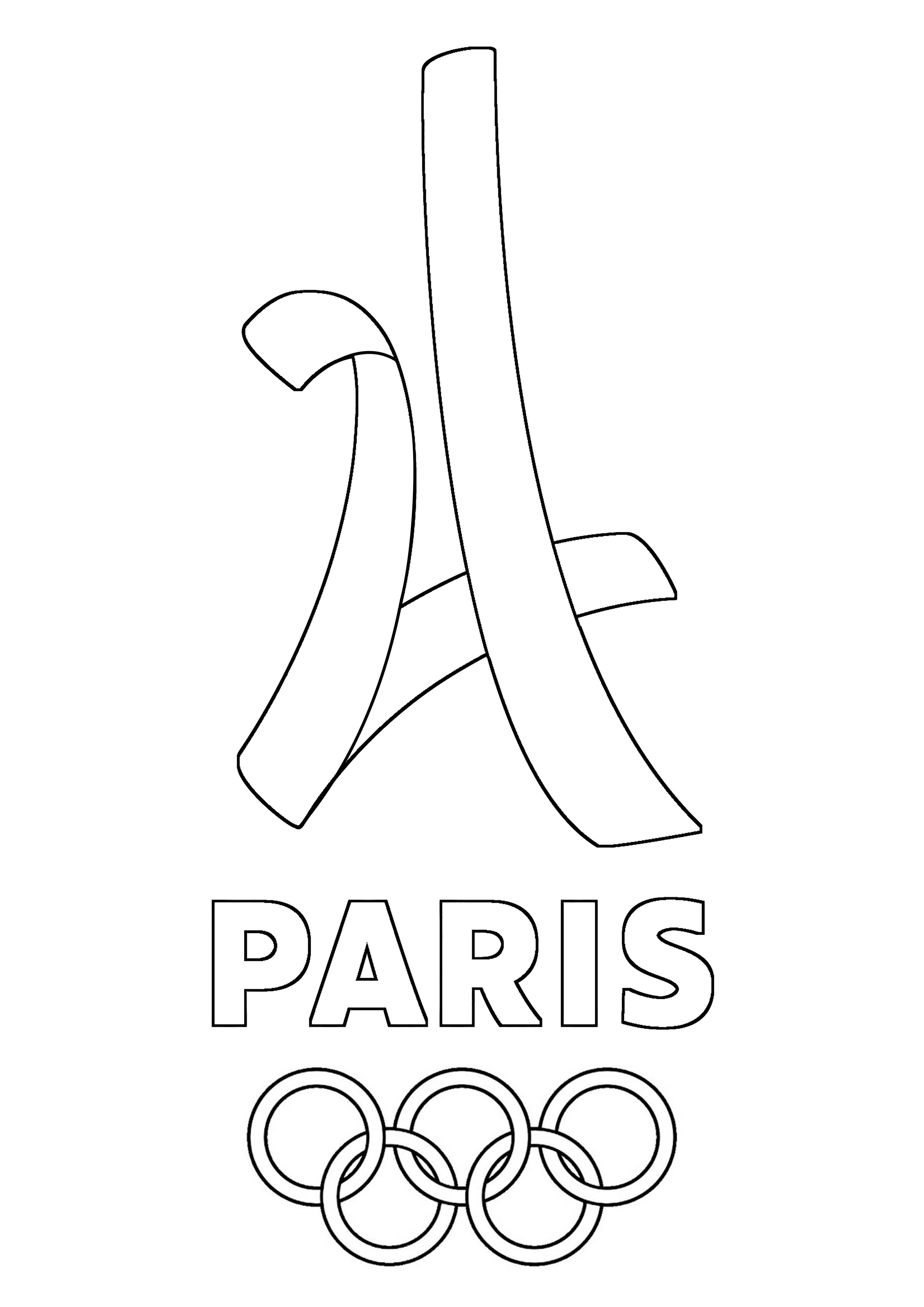 logo paris 2024 olympic games olympic and sport coloring pages
