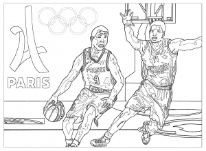 Coloring adult olympic games basketball paris 2024