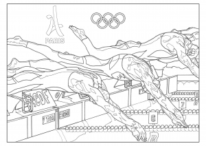 Coloring adult olympic games swimming paris 2024