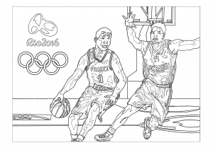 Coloring adult rio 2016 olympic games basketball