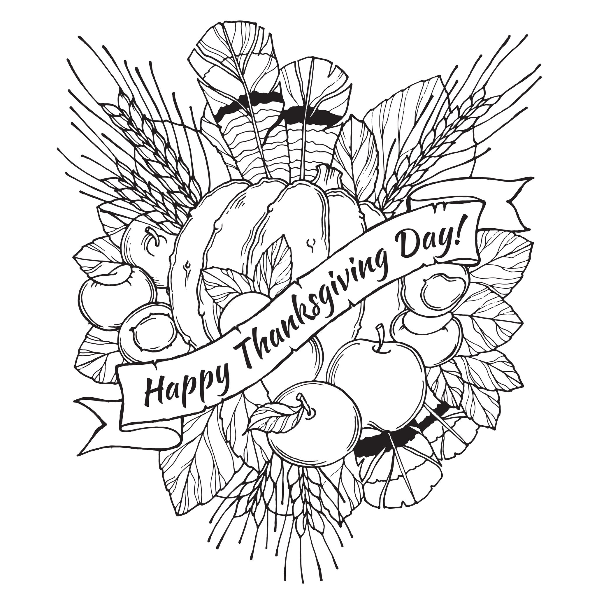 Thanksgiving Day Drawing To Print And Color With Feathers Chestnuts Vegetables Fruits Drawn In Cartoon Style