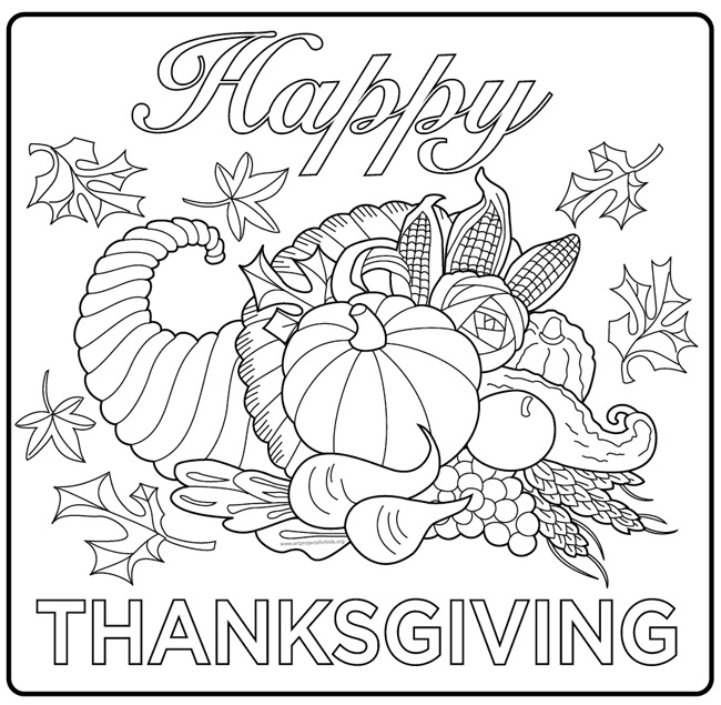 Harvest Cornucopia drawing : A simple coloring page for kids and adults