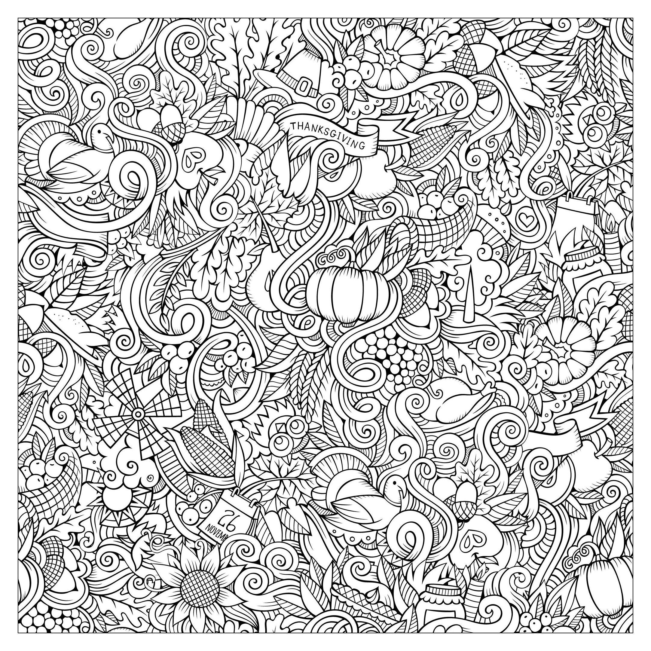 Cartoon vector hand drawn doodles : thanksgiving autumn symbols ...