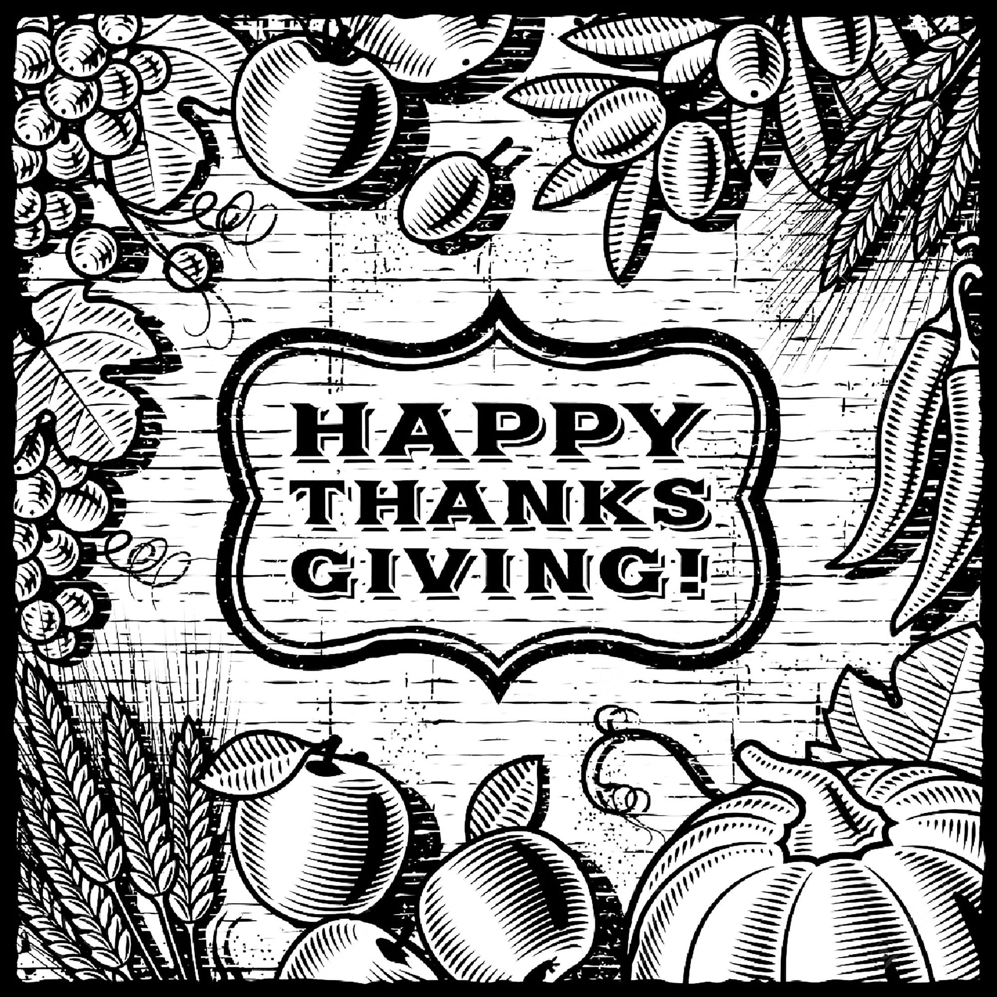Beautiful & complex coloring page celebrating Thanksgiving Day