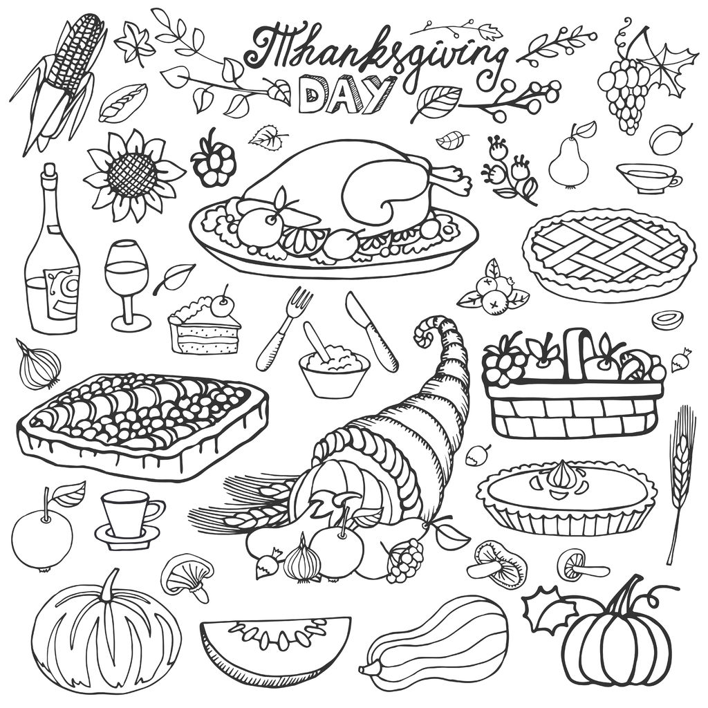 thanksgiving day icons and cliparts harvest cornucopia turkey pumpkin cakes - Coloring Pictures Thanksgiving