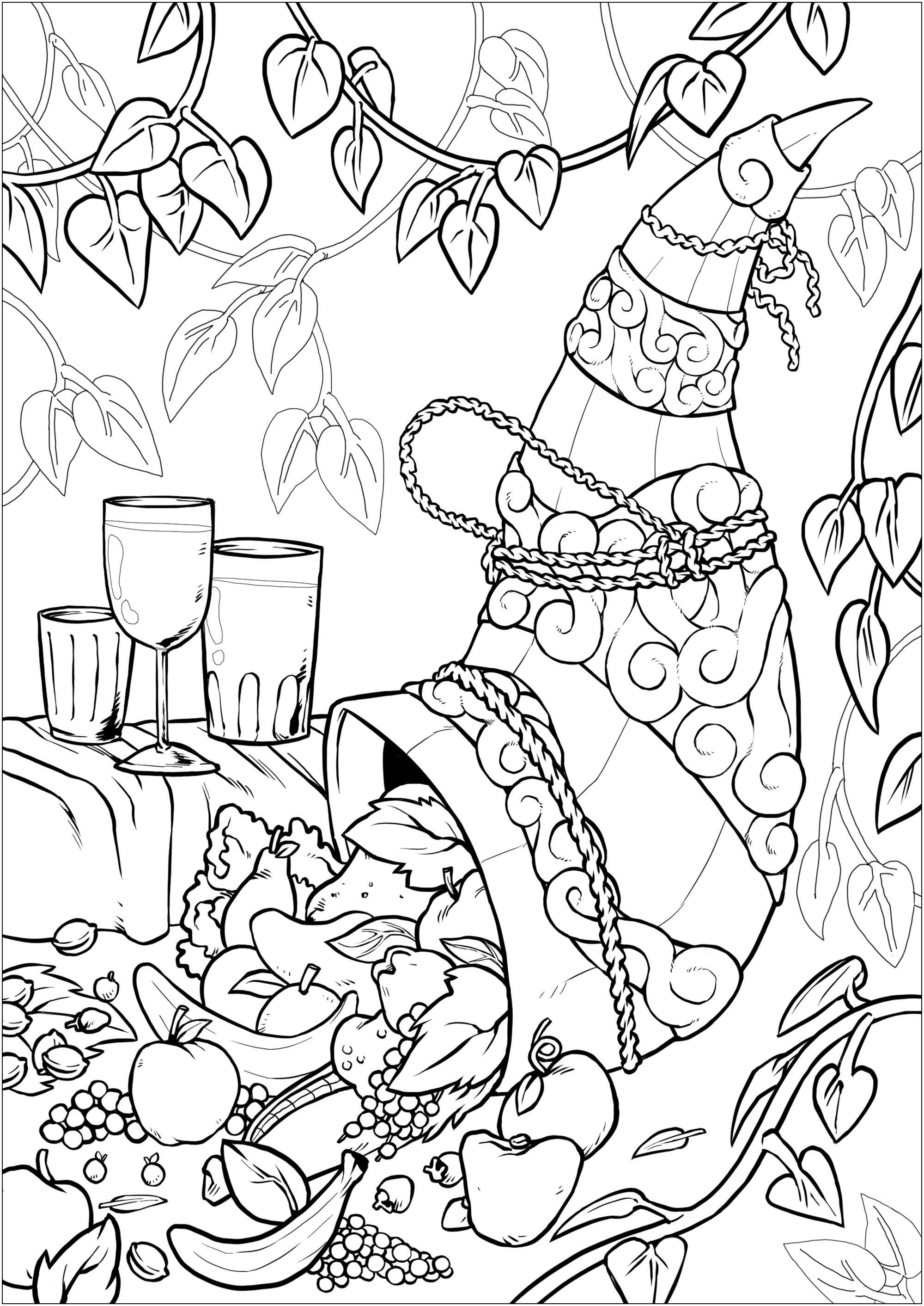 Color this Cornucopia full of fruits, with lot of details