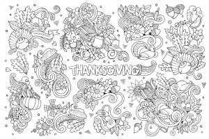 Coloring adult thanksgiving doodle 2 by Olga Kostenko