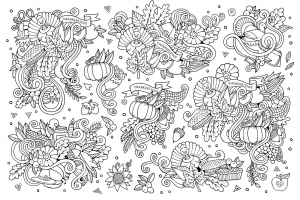 Sketchy vector hand drawn Doodle cartoon set of Thanksgiving objects