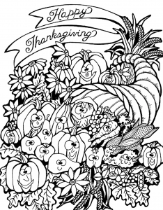 Coloring adult thanksgiving harvest cornucopia