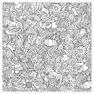 44043346 - cartoon vector hand-drawn doodles on the subject of thanksgiving autumn symbols, food and drinks seamless pattern. color background free to print