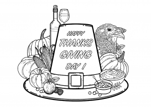 Simple Printable Coloring Page With A Good Dish For Thanksgiving