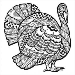 Turkey Zentangle Coloring sheet free to print