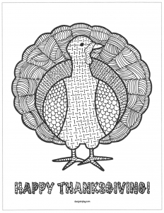 Coloring page zentangle thanksgiving turkey
