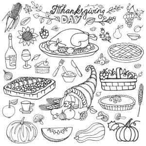 coloring-thanksgiving-cornucopia-and-turkey-by-tatiana-kostysheva free to print