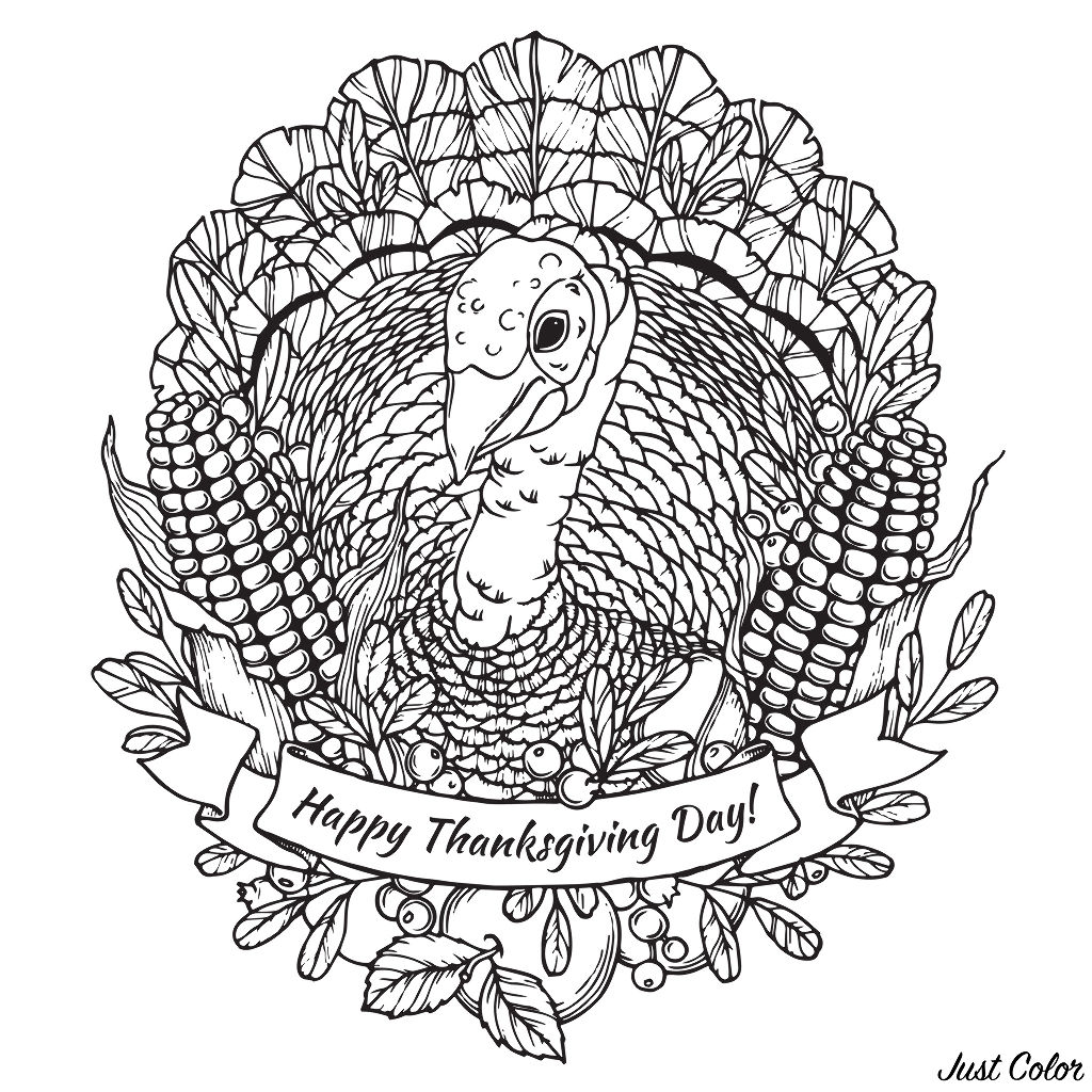 Thanksgiving day coloring page with turkey, vegetables (corn) and fruits