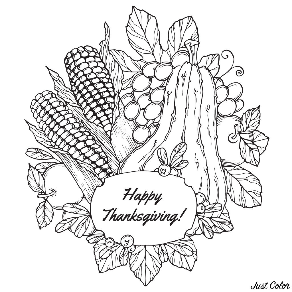 Thanksgiving corn and fruits - Thanksgiving Adult Coloring ...