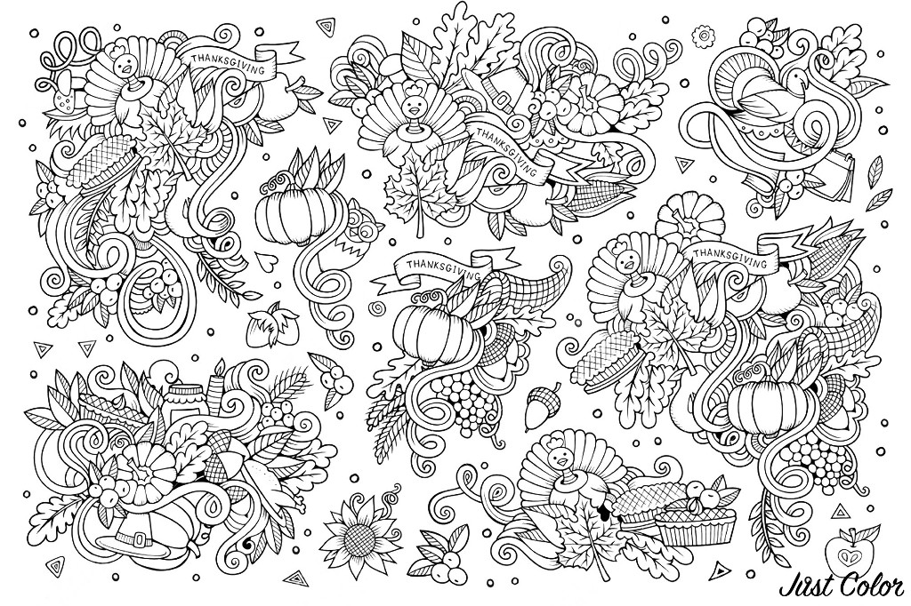Sketchy vector hand drawn Doodle cartoon set of patterns, objects and abstract symbols on the Thanksgiving day theme