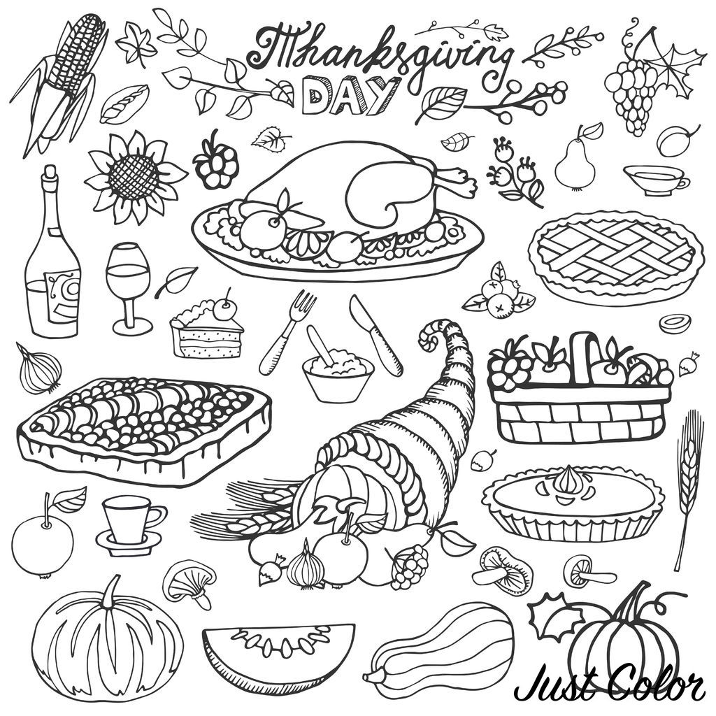 Thanksgiving day icons and cliparts : Harvest Cornucopia, turkey, pumpkin, cakes ... Good appetite