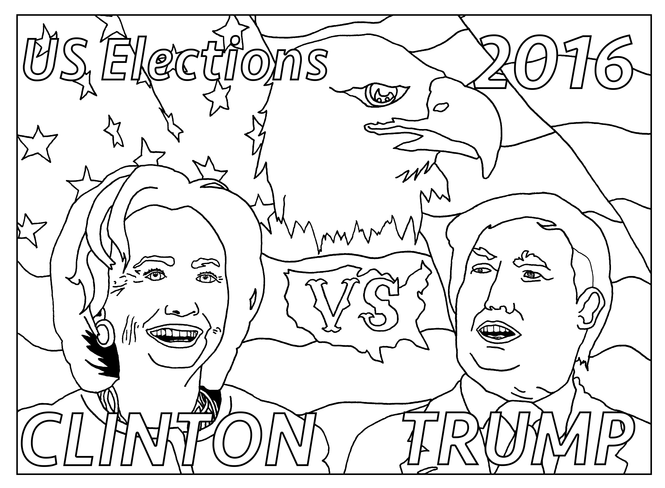 Special coloring page for the US Elections : Clinton vs Trump : version with text