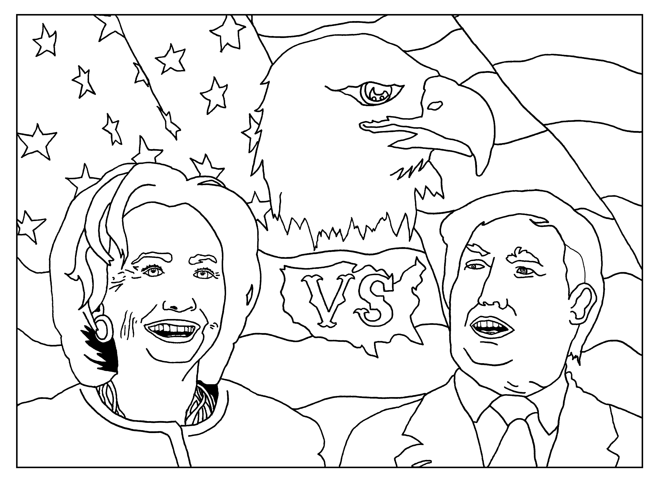 Special coloring page for the US Elections : Clinton vs Trump : version without text