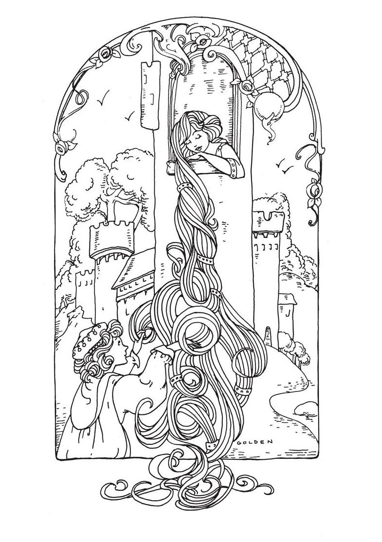 Rapunzel Fairy Tales Adult Coloring Pages