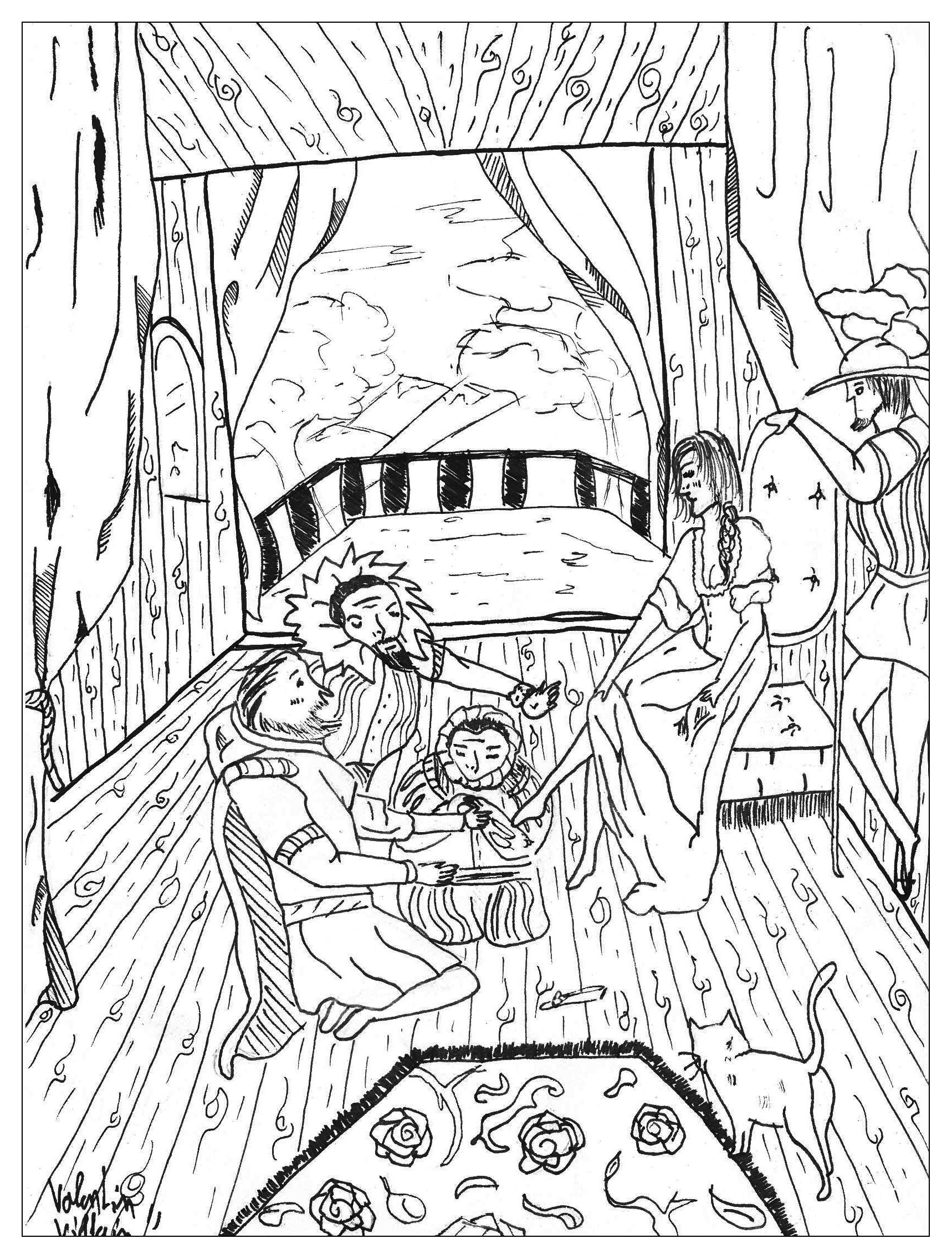 The coloring page of the famous story 'Cinderella'.