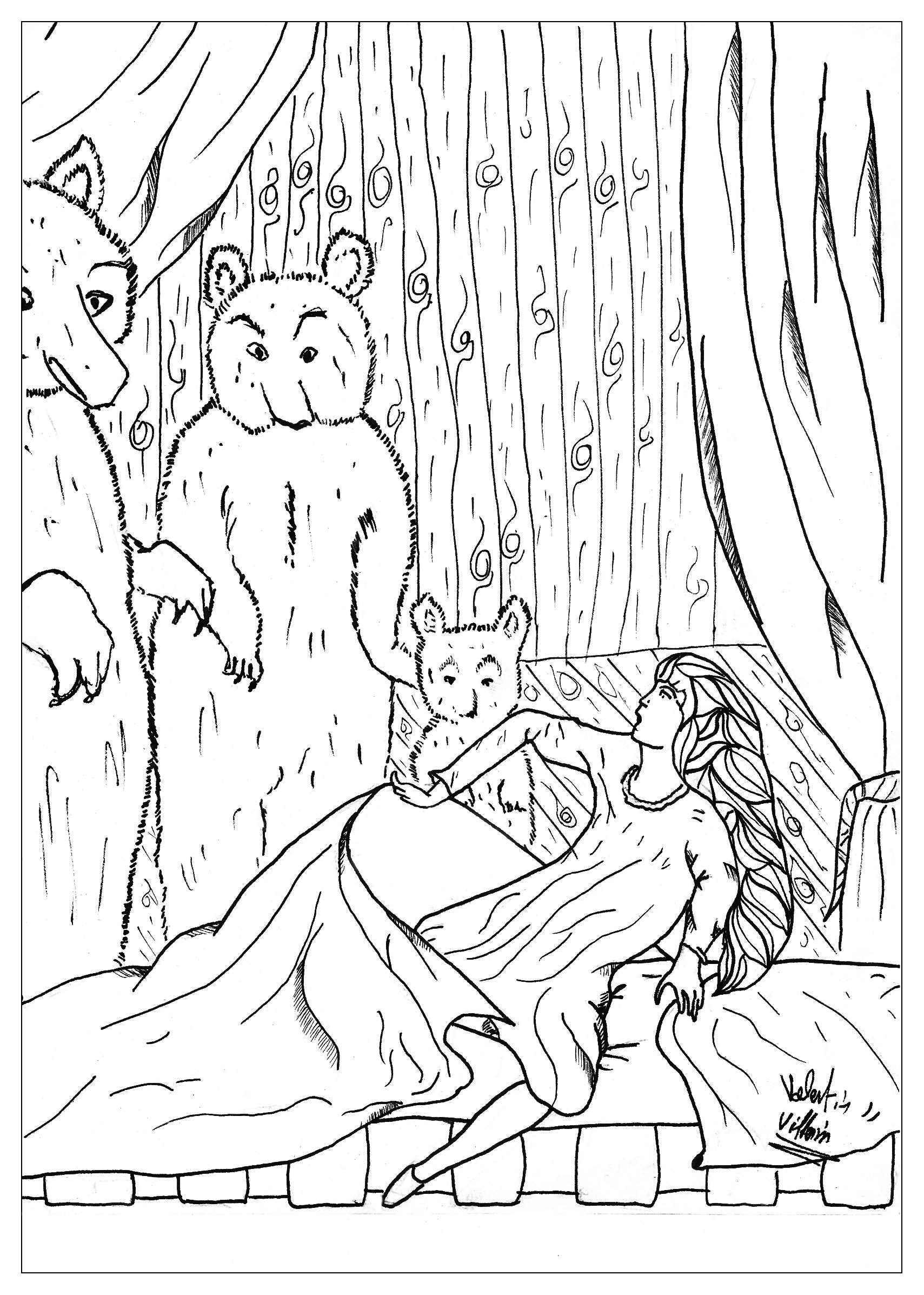 Goldilocks and the Tree Bears in a coloring page.