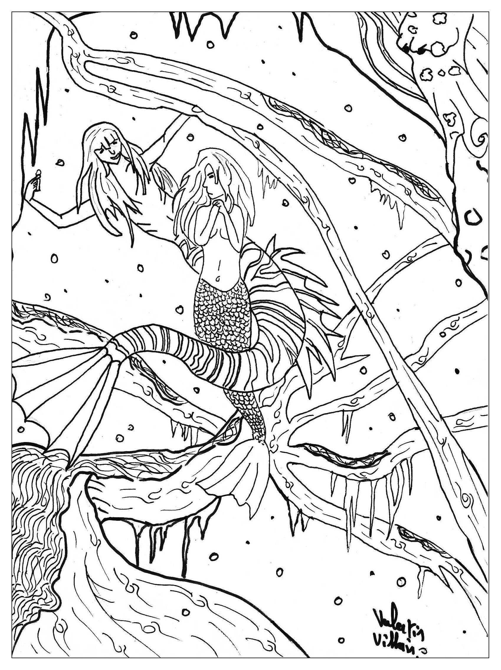 the great changement for the little mermaid from the gallery fairy tales - Fantasy Coloring Pages Adults