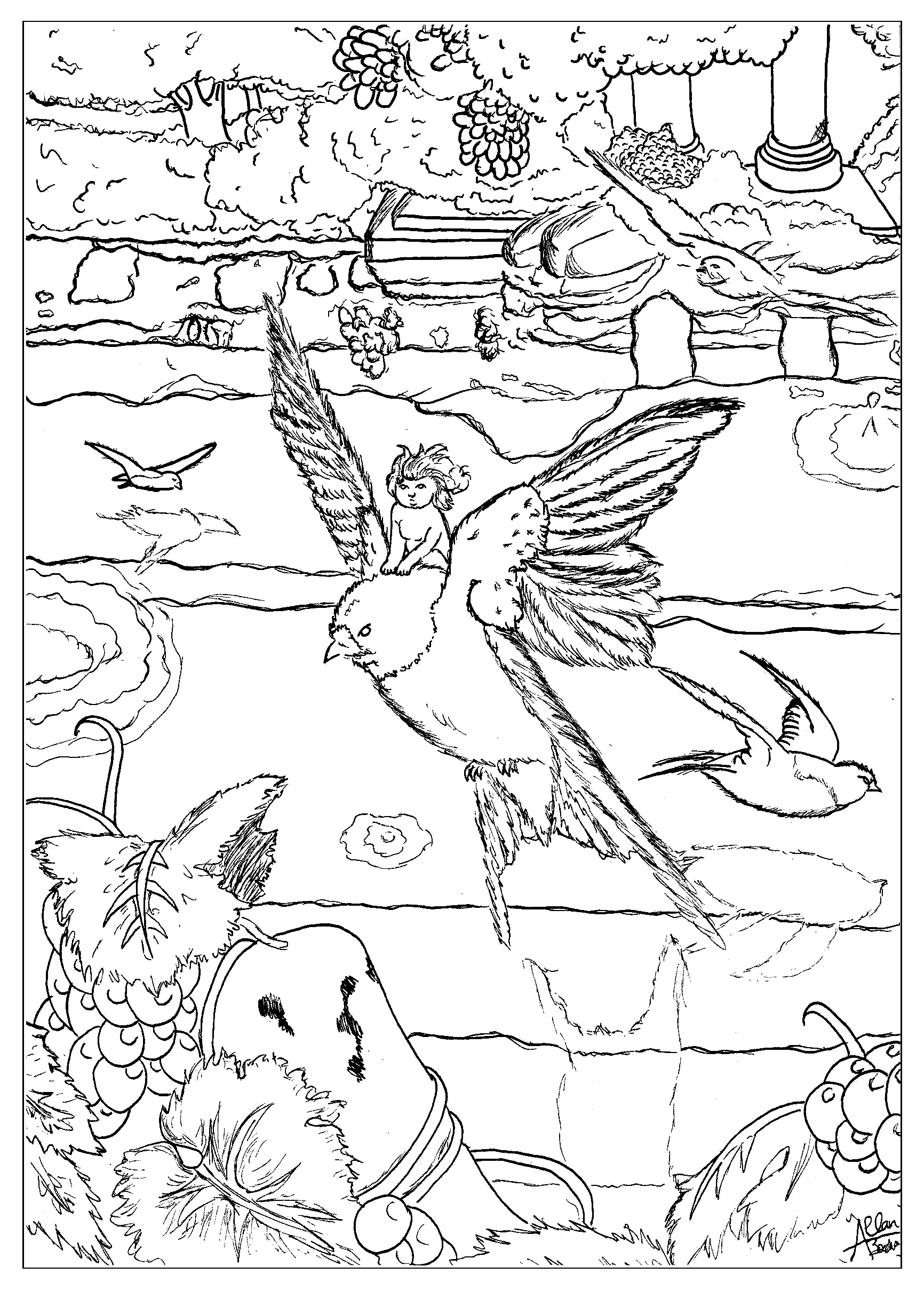 coloring page adults thumbelina