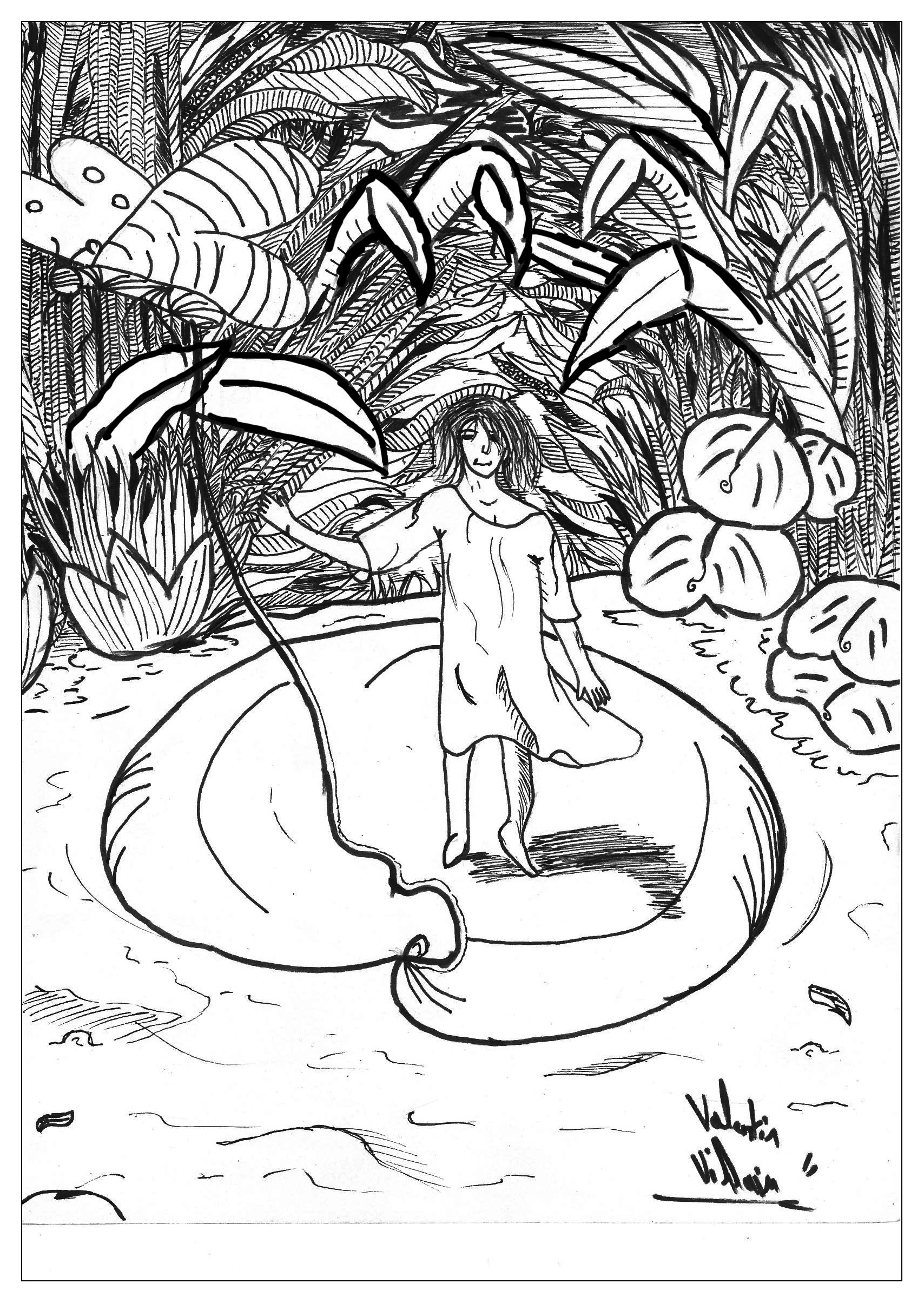 A coloring page of the Andersen tale 'Tom Thumbs'.