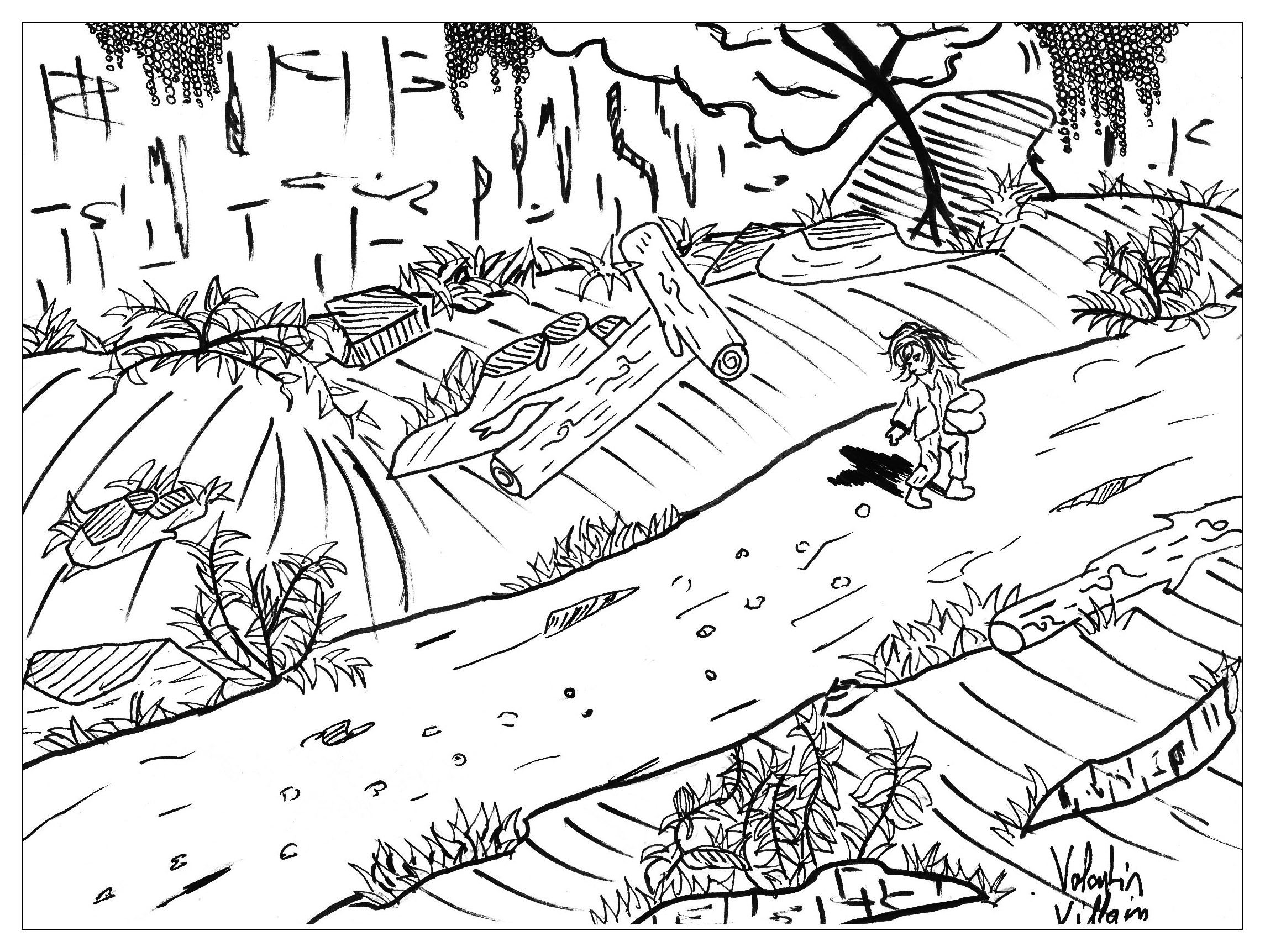 Tom thumb, a coloring page of the Andersen tale.