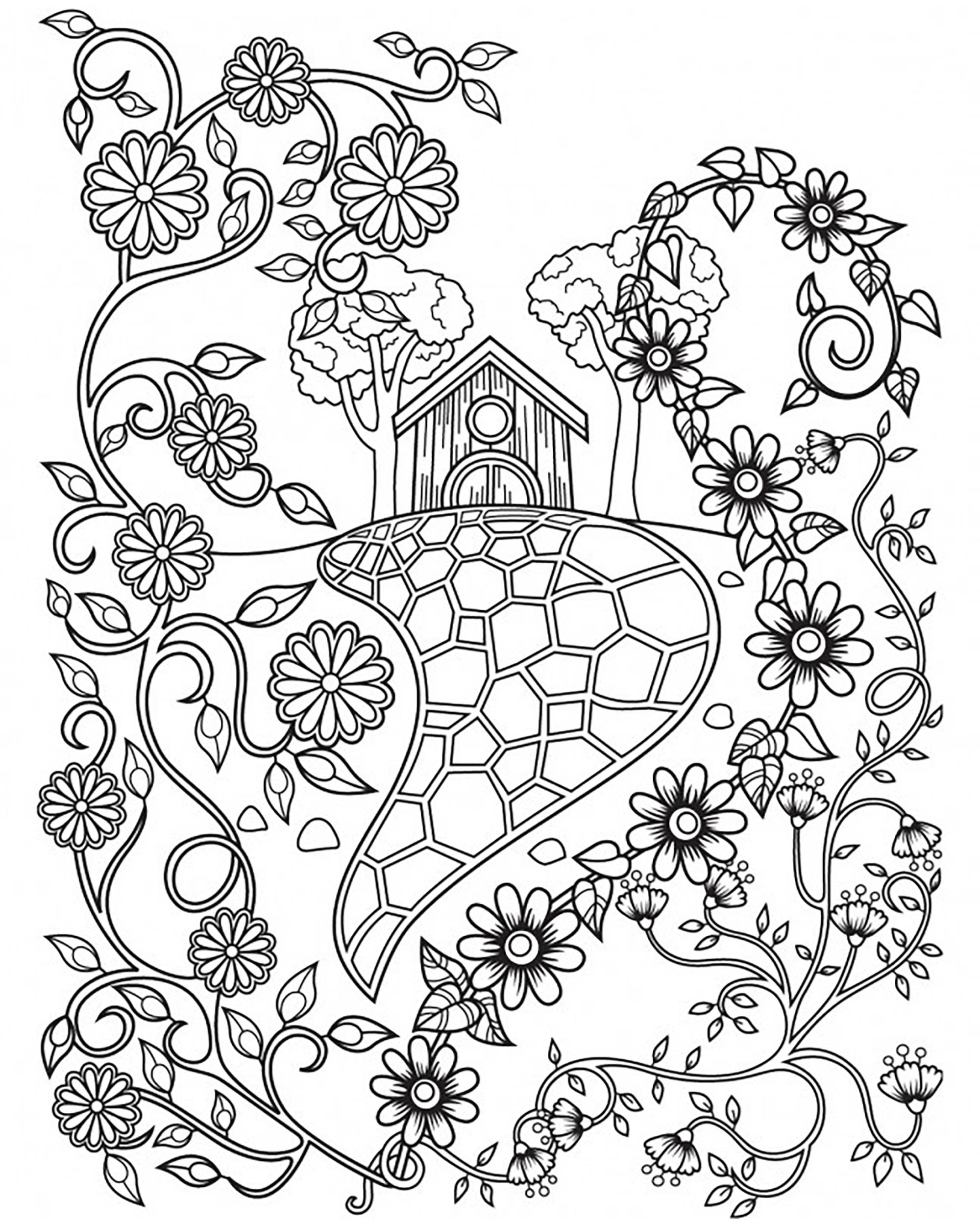 Illustration inspired by some fairy tales, with a house nearly hidden behind a flowers field. Coloring page offered by Cinthia