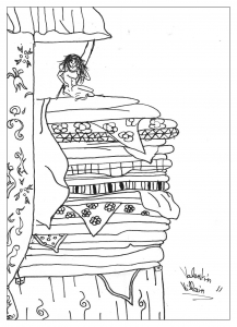 Coloring page adults princess pea