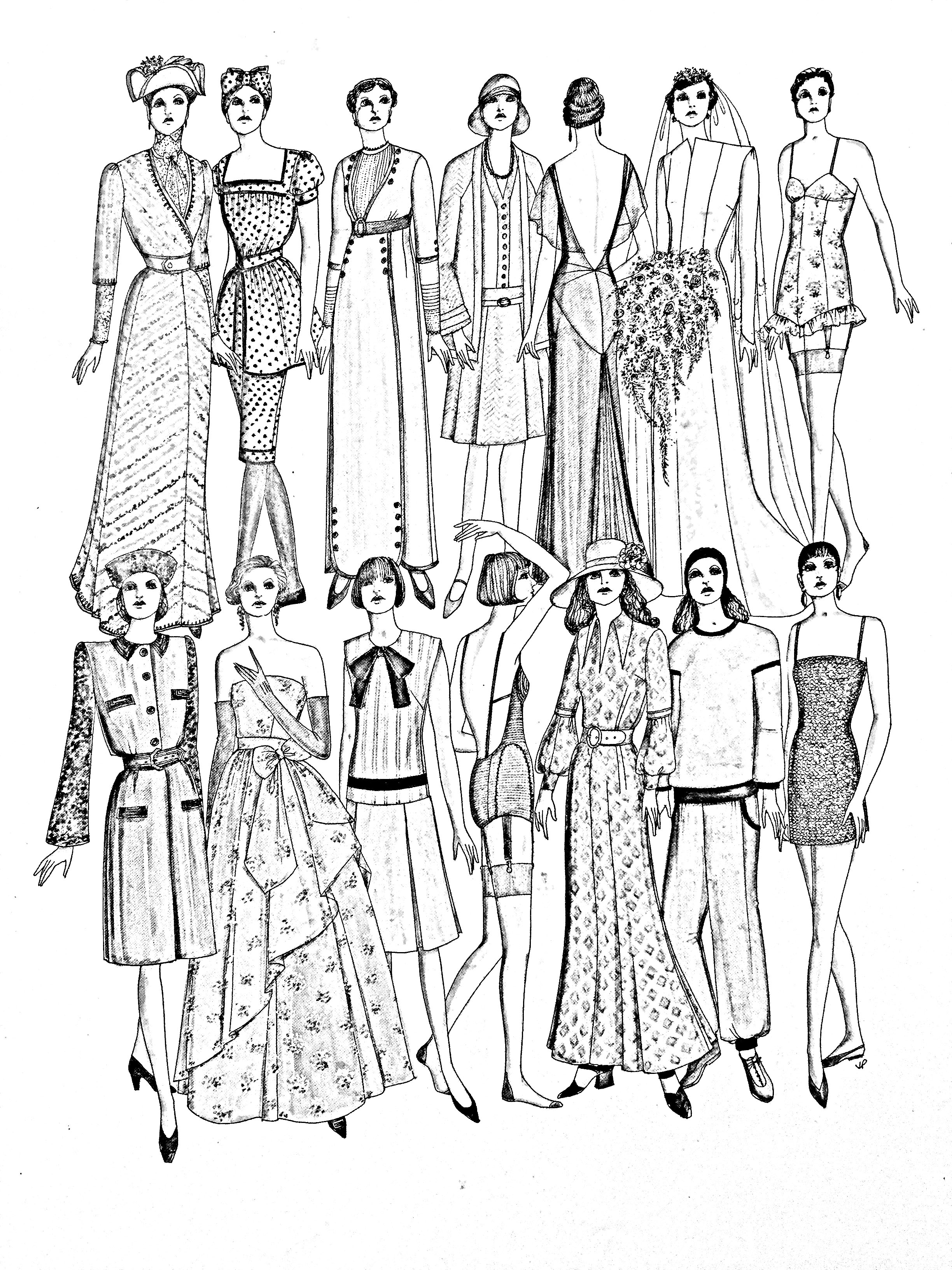 Coloring page inspired by a page of the book « Fashion in the XXth century », by John Peacock