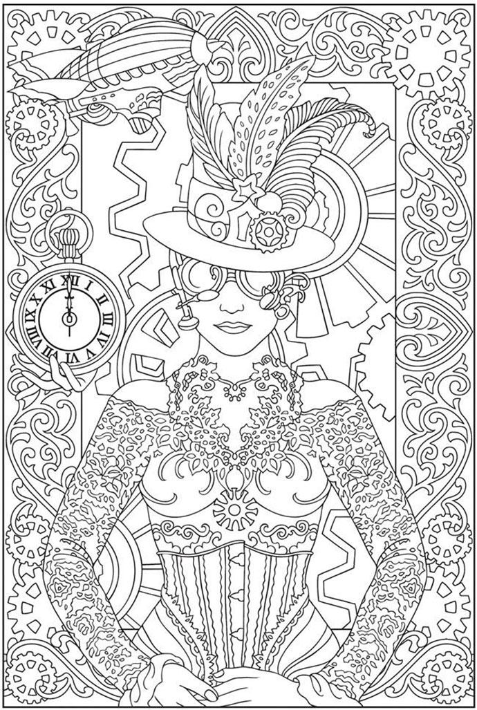 Coloring Page Of A Woman With Clothes And Accessories Inspired By Clocks Watches