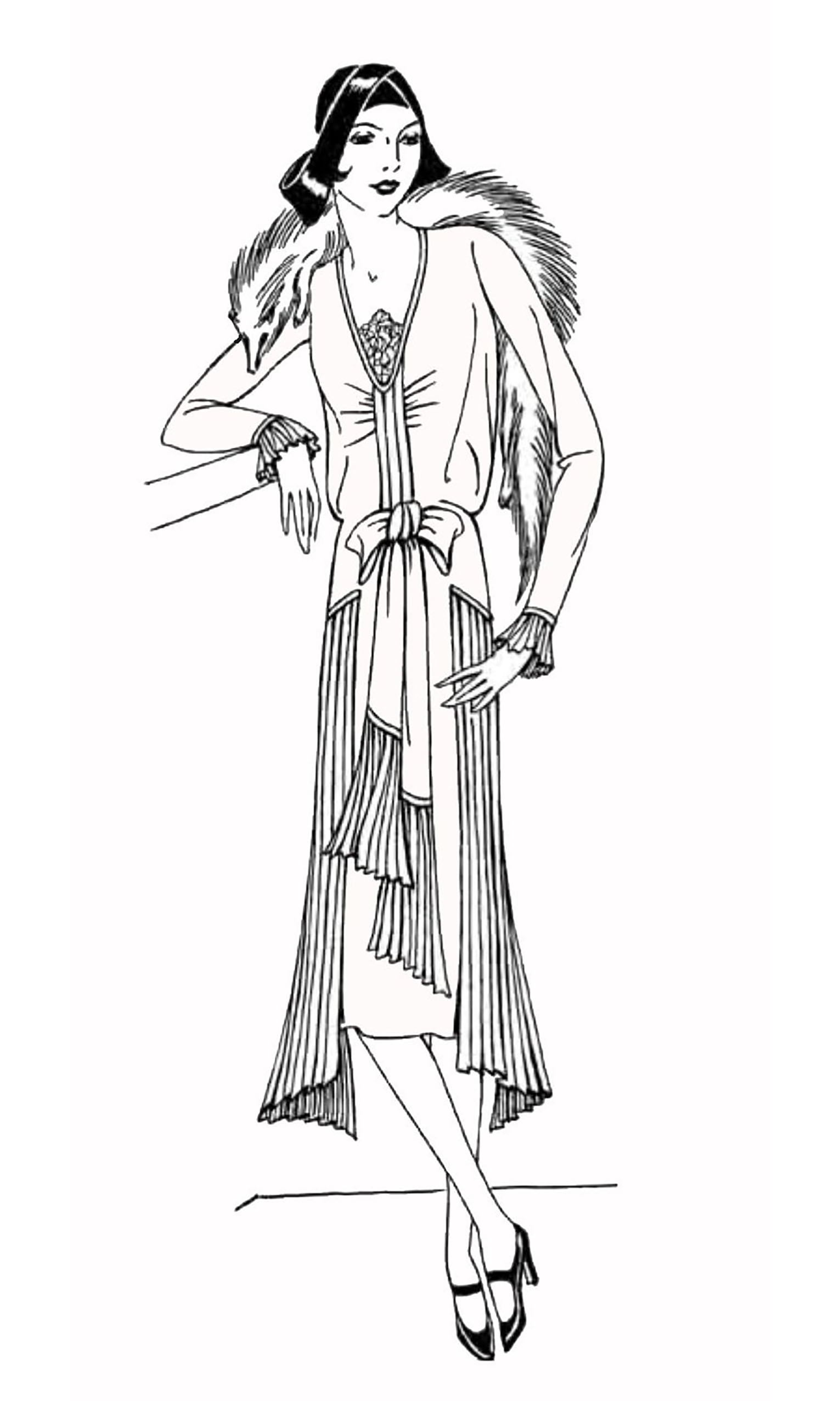 1930's Lady : Simple coloring page for those who like fashion & History