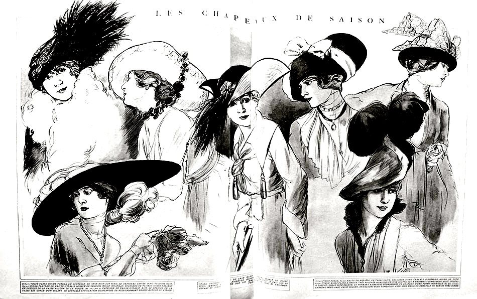 Color this 1915 fashion sketch with beautiful women's hats