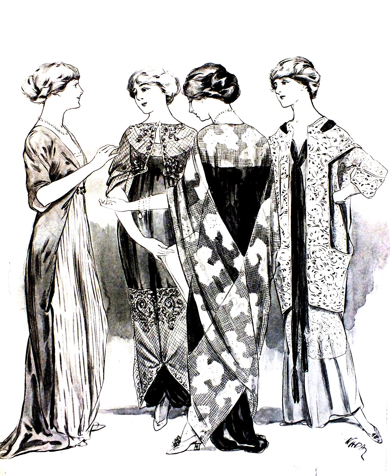 Coloring page based on a Vintage fashion plate